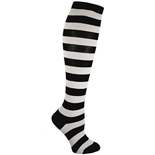 RSG Hosiery Knee High Socks For Teens & Women Solids & Patterns (Black & White Stripe) ()