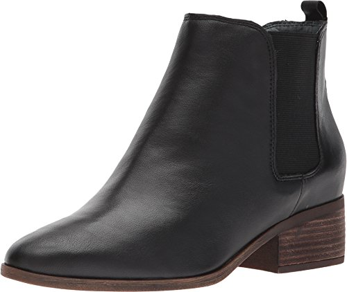 Gore Leather Heels (Lucky Brand Women's Livinia Black Leather Stacked Heel Chelsea Gore Ankle Bootie (9.5))