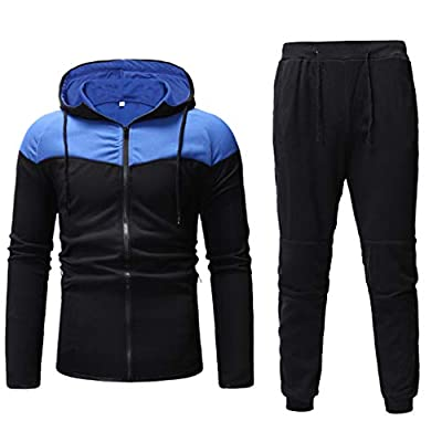 QBQCBB Mens Autumn Winter Tracksuit Packwork Print Zipper Sweatshirt Top Pants Sets