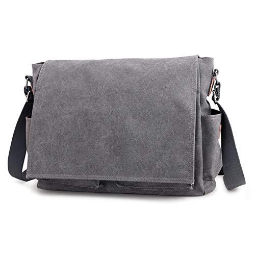 Iswee Canvas Laptop Bag Fit 15.6 inch Laptop Messenger Bags Shoulder Bag for Men Crossbody Work Bag (Gray)