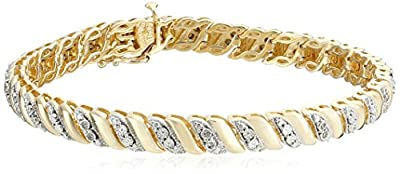 Sterling Silver Diamond Miracle Plate San Marco Bracelet (1/10cttw, I-J Color, I2-I3 Clarity), 7.5""