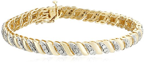 18k Yellow Gold Plated Sterling Silver Diamond Miracle Plate San Marco Bracelet (1/10 cttw, I-J Color, I2-I3 Clarity), 7.25