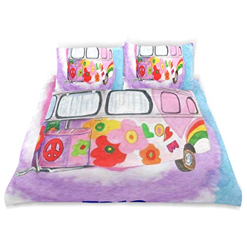 OSBLI Bedding Duvet Cover Set 3 Pieces Hippie Camper Trailer Peace Sign Bed Sheets Sets and 2 Pillowcase for Teens