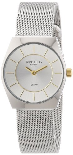 Mike-Ellis-New-York-L1126ASM3-Reloj-analgico-de-cuarzo-para-mujer-correa-de-acero-inoxidable-color-plateado