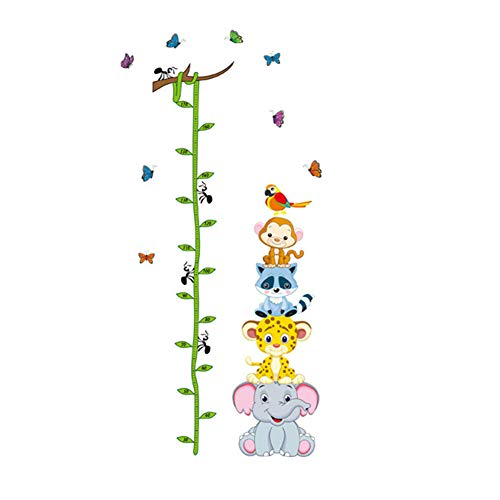 Measure Stickers (Slendima Lovley Forest Animals Pea Horn Height Measure Ruler Wall Sticker ,Cute Cartoon Animals Kids Baby Nursery Growth Chart Wall Decor)