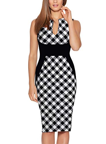 Fantaist Women's Summer Sleeveless Slim Fitted Bodycon Pencil Wear to Work Dress (S, FT601-Black Plaid) ()