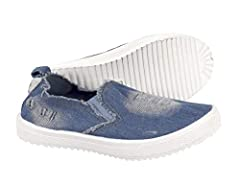 Keep her in casual gear with the girls Denim sneakers. Denim with distressed detailing gives this slip-on sneaker a pretty update. An elastic gore keeps the fit snug, while distressed looks add a fun detail. The vulcanized rubber sole is slip...