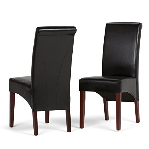 Simpli Home WS5134-BL Avalon Contemporary Deluxe Parson Dining Chair (Set of 2) in Midnight Black Faux Leather