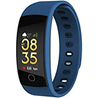 SODIAL QS80plus Color Smart Bracelet Blood Pressure Heart Rate Monitor Fitness Tracker Waterproof Smart Wristband Band For Android ios(blue)