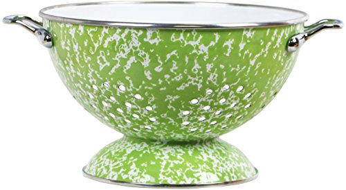 Powder Coated Colander - Calypso Basics by Reston Lloyd Powder Coated Enameled Colander, 3 quart, Lime Marble