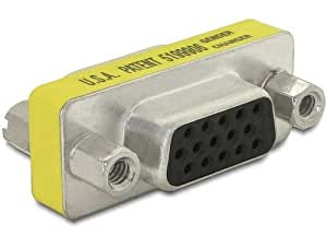 DeLOCK Adapter Gender Changer VGA - Adaptador VGA, amarillo