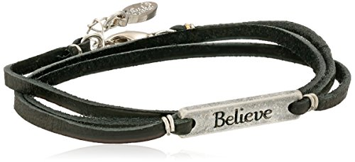 Leather Ettika Black - Ettika Silver Colored Believe Statement Plate Black Leather Wrap Bracelet 21
