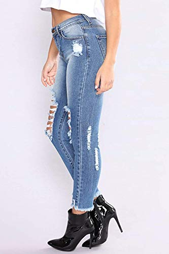 Elásticos De Lápiz Huixin Blau Vaqueros Cintura Pantalones Delanteros Desgastados Las Ajustados Mujeres Alta Stretch UBx5wZq