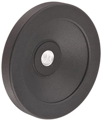 """Black Powder Coated Aluminum Dished Hand Wheel without Handle, 3-15/16"""" Diameter, 1/2"""" Hole Diameter (Pack of 1)"""