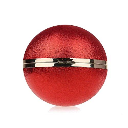 Tinksky Borse a sfera rotonde attraenti per le donne con borsa a catena da sera Borse a sfera rotonde Borsa a tracolla a velluto a mano per banchetti, regalo per amante (rosso)