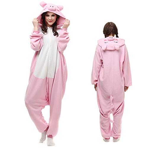ElfZ Onesie Animal Adult Pig Cosplay Costume One-Piece Pajamas for Women Plus Size -