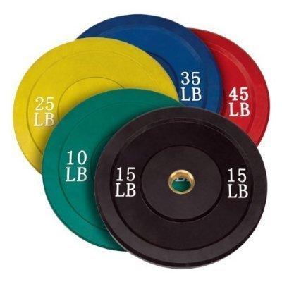 Solid Rubber Bumper Plates Set w/ Rack Color 5 Pairs, Total 260lb