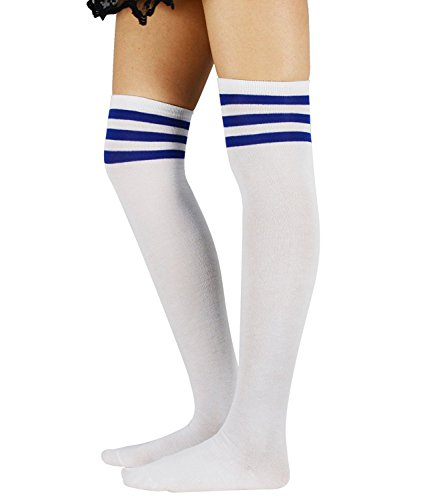 Zando Stripe Cute Athlete Thin Thigh High Long Socks Over The Knee Sock for Women School Girl Cosplay Stockings 1 Pack White Royal Blue One - Argyle Bodysuit