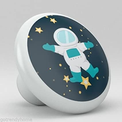 Cute Spaceman Stars Space Nursery Ceramic Knobs Pull Closet Dresser Drawer  2007