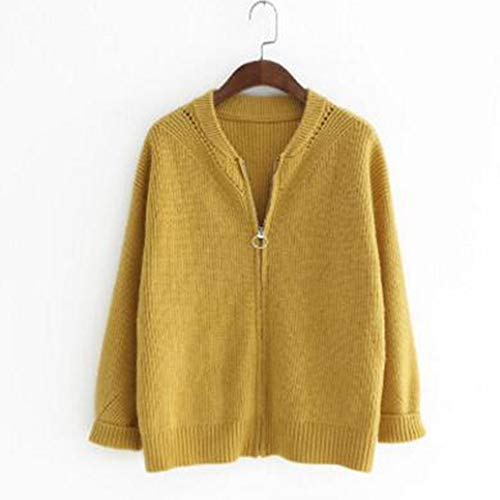 Top Giacca SIKESONG Invernale Casual Up Maglia A Top Giacca Cardigan Maglia Zip Giallo Manica Giacca Lunga Donna wqqUXI4