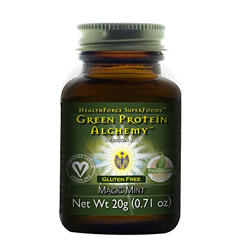 HealthForce SuperFoods Green Protein Alchemy Magic Mint - 20 Grams - All Natural Plant Based Protein Powder, Made from Whole Foods - Vegan, Organic, Gluten Free - 1 Serving