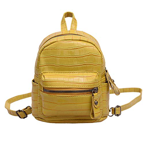 2DXuixsh Cute Small Backpack Mini Purse Casual Daypacks Leather for Teen Girls Fashion Shoulder Bag Leather Handbag Yellow