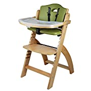 Abiie Beyond Wooden High Chair With Tray. The Perfect Adjustable Baby Highchair Solution For Your Babies and Toddlers or as a Dining Chair.. (6 Months up to 250 Lb) (Natural Wood - Olive Cushion)