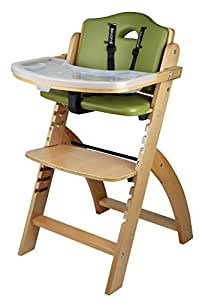 Abiie Beyond Wooden High Chair with Tray. The Perfect Seating Highchair Solution for Your Child As Toddler's or a Dining Chair (6 Months up to 250 Lb). (Natural Wood - Green Cushion)