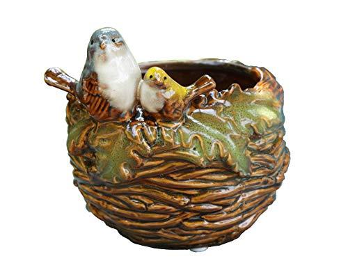 Handmade Ceramic Bird Nest Succulent Planter/Plant Pot Flower Pot Bonsai Pot Ashtray Home Garden Décor Figurine 5