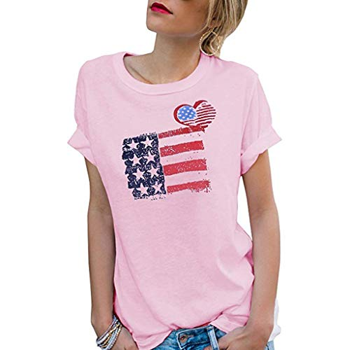 Gopeak 4th of July Shirts Cute Tops for Women Ladies O Neck Short Sleeve Patriotic Stripes Star American Flag T-Shirt Pink