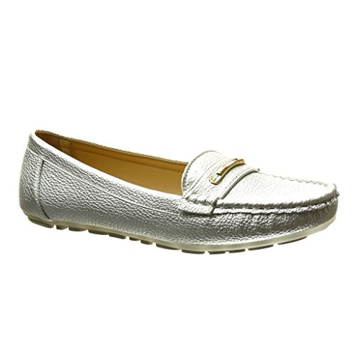 Angkorly - Scarpe da Moda Mocassini slip-on donna metallico perforato Tacco tacco piatto 0 CM - Argento
