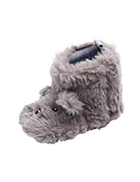 Toddler Baby Girls Boys Warm First Walkers Shoes,Plus Thick Velvet Fluffy Cartoon Dog Ears Soft Sole Non-Slip Mid Boot