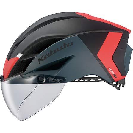 OGK KABUTO(オージーケーカブト) ヘルメット AERO-R1 (エアロ-R1) カラー:G-2マットブラックレッド サイズ:S/M(頭囲:55~58cm)