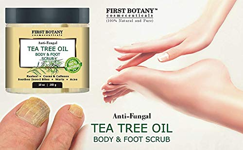 100% Natural Tea Tree Oil Body & Foot Scrub with Dead Sea Salt – Best for Acne, Dandruff and Warts, Helps with Corns…