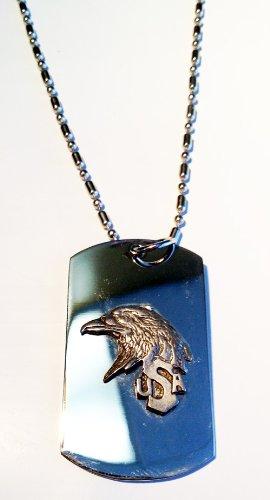 Bald Eagle Head Usa Name American Patriotic Pewter Emblem Logo Symbols - Military Dog Tag Luggage Tag Key Chain Metal Chain Necklace
