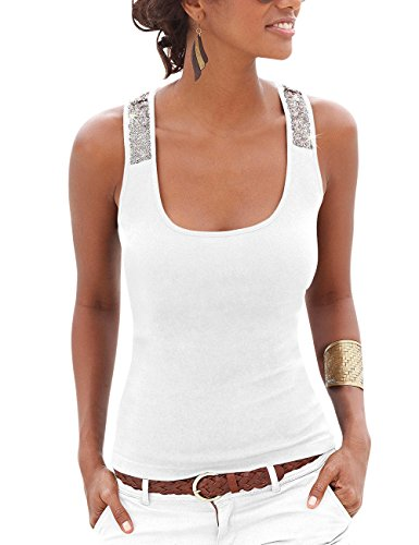 Flying Rabbit Summer Sexy Vest Sequins Sleeveless Big U Collar Casual Tank Style Chic Top Shirt Blouse for Women (Medium, White)