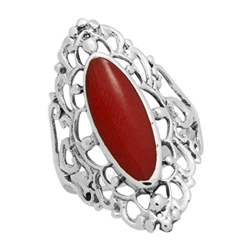 Blue Apple Co. 30mm Long Ring Filigree Marquise Simulated Red Coral Ring 925 Sterling Silver, Size - 7