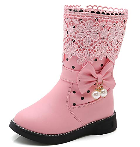 DADAWEN Girl's Waterproof Lace Bowknot Side Zipper Fur Winter Boots (Toddler/Little Kid/Big Kid) Pink US Size 2 M Little Kid