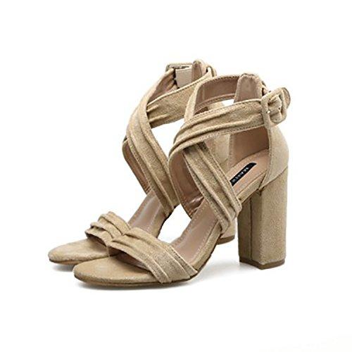 GTVERNH-Super - High - Heels Heels Heels T - Typ Schnalle Grob Weiblich 9Cm Sommer Die Alle Treffer Meine Damen Super - High - Heels Apricot 8be174