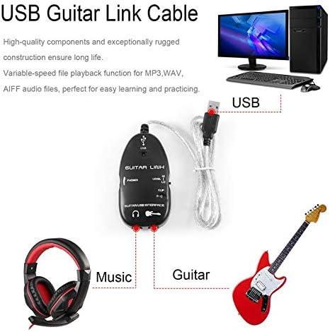 Goldyqin Guitarra eléctrica Baja a Interfaz USB Cable de Enlace ...