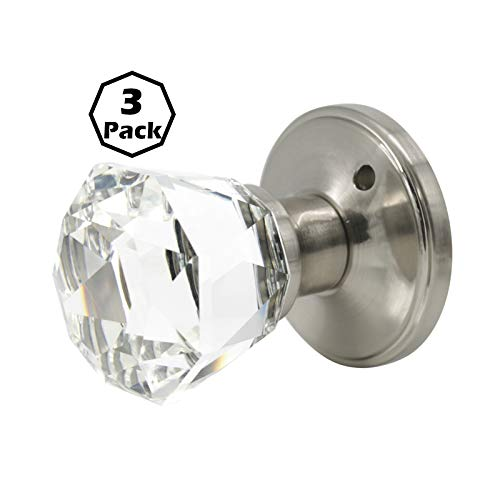 3 Privacy Door Knobs with Lock Classic Crystal Style Satin Nickel Finished for Bed and Bath