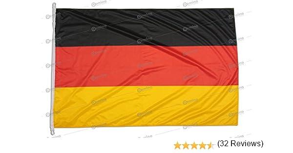 Bandera de Alemania 150x100 en tela náutico resistente al viento 115g/m², bandera alemana 150x100 lavable, bandera de Alemania 150x100 alta calidad con cordón, doble costura perimetral, cinta de refuerzo: Amazon.es: Jardín