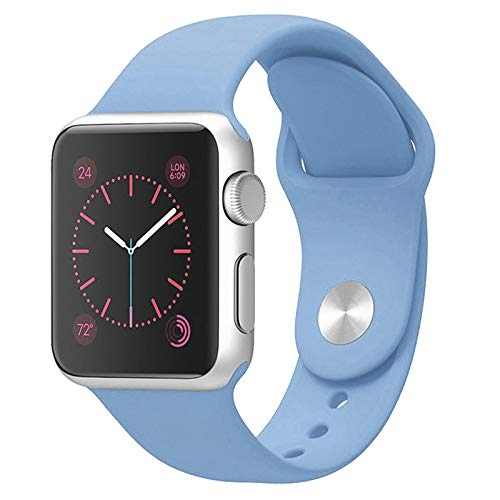 Compatible with Apple Watch Band 42mm 44mm, Jxh-Life Soft Silicone Sport Strap Replacement Bands Compatible with iWatch Series 4/3/2/1 - Azure Blue