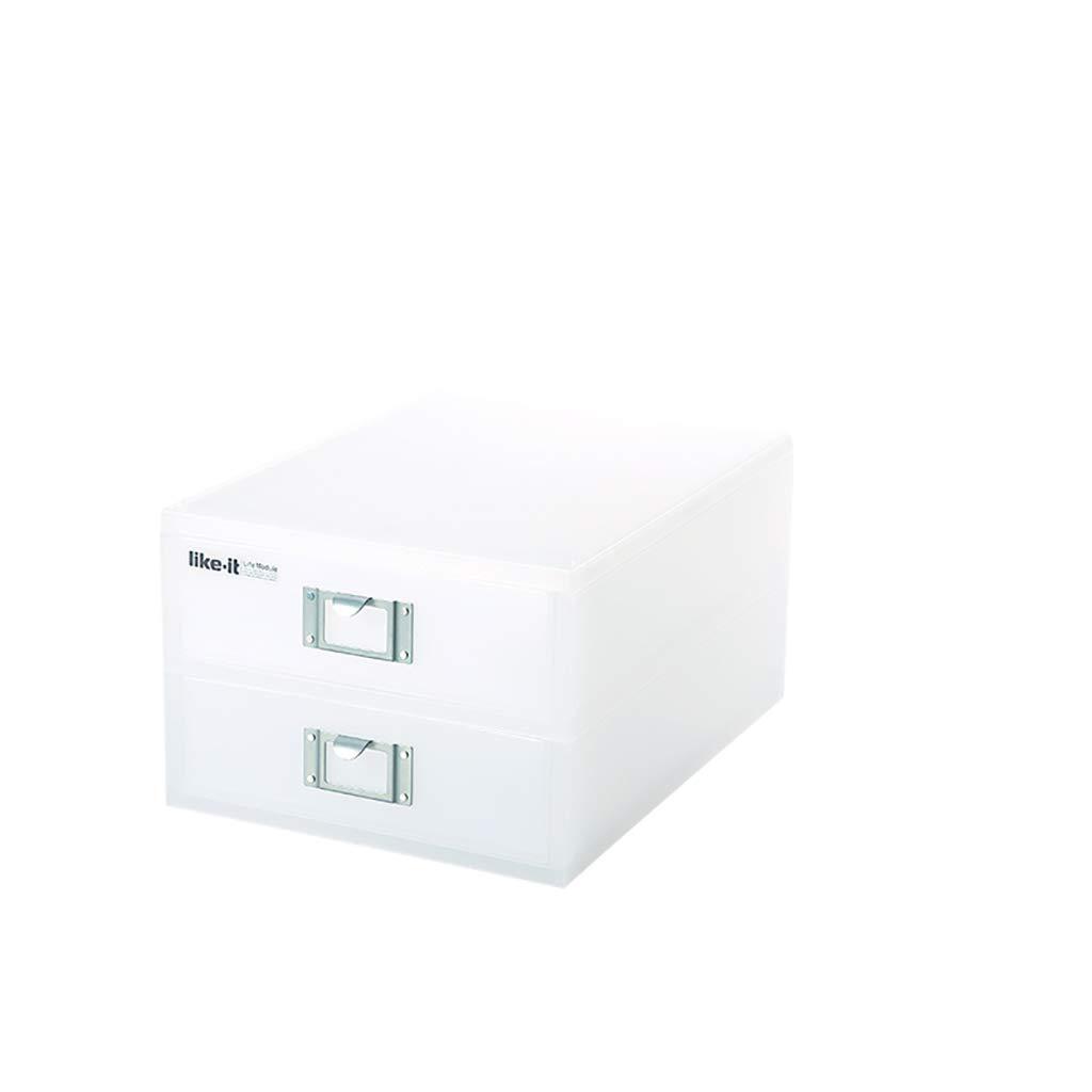 ファイルキャビネットプラスチックデスクトップロッカーファイルボックス2層透明引き出しホワイト B07MNZL693