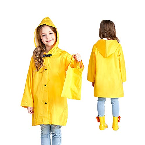 (Kids Hooded Button Down Jacket Rain Raincoat with Bow Cover Long Rainwear (Yellow,)