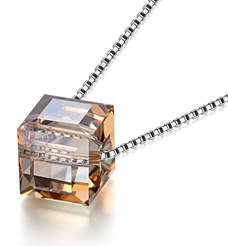 (O'COCOLOUR Necklace Champagne Square 925 Sterling Silver Pendant Necklace Made with Aurora Crystal from Swarovski Anniversary Birthday Gift for Wife Girlfriend Daughter)