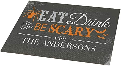 GiftsForYouNow Halloween Eat Drink and Be Scary Personalized Doormat, 18 x 24