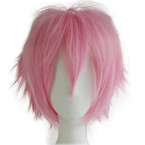 Alacos Women Men Short Fluffy Straight Hair Wigs Anime Cosplay Party Dress Costume Wig Baby Pink Wig+ Free Wig Cap