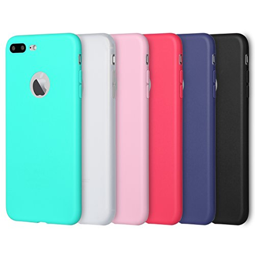 Silicone Matte (iPhone 7 Plus Case, Pofesun 6Pack Full Matte Soft Touch Slim-Fit Flexible TPU Protective Case Cover for iPhone 7 Plus/iPhone 8 Plus (5.5 Inch) (Black, White, Pink, Red, Green, Royal Blue))