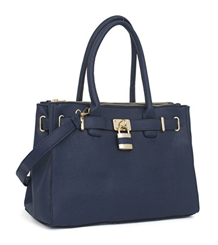 South Shoulder Tote (Beaute Bags Handbag Padlock Shoulder Tote Vegan Leather Satchel Top-Handle Purse (NAVY))